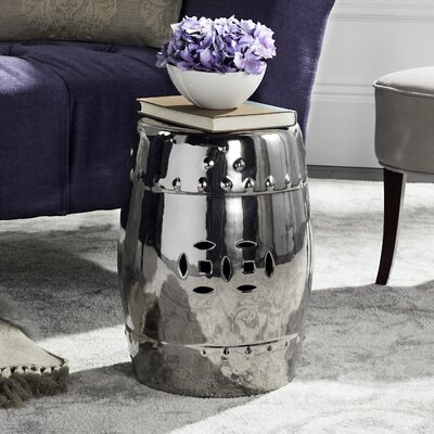 Glazed Ceramic Garden Stool Finish: Silver