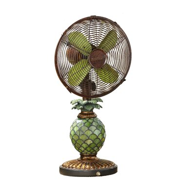 "Kinard Pinapple Tiffany 10"" Oscillating Table Fan"
