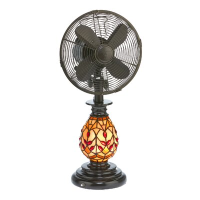 Piland Tiffany Oscillating Glass Table Fan with Lamp