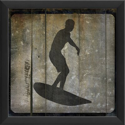 The Artwork Factory Surfer V Framed Graphic Art in Black and Gray