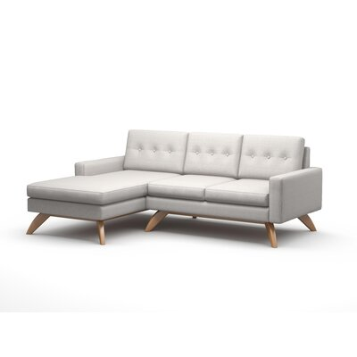 Luna Sofa with Chaise Body Fabric: Klein Charcoal, Leg Color: Honey, Sectional Orientation: Left Facing