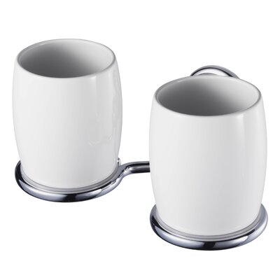 Haceka Allure Double Tooth Brush Holder in Chrome
