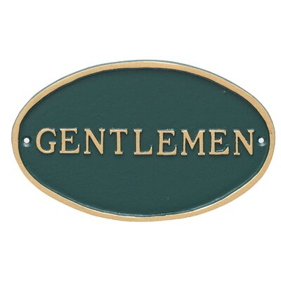 Oval Gentlemen Restroom Statement Address Plaque Finish: Hunter Green/Gold