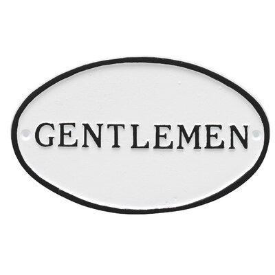 Oval Gentlemen Restroom Statement Address Plaque Finish: White/Black