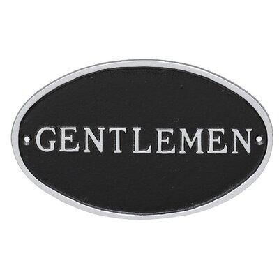 Oval Gentlemen Restroom Statement Address Plaque Finish: Black/Silver
