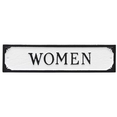 Women Restroom Statement Address Plaque Finish: White/Black