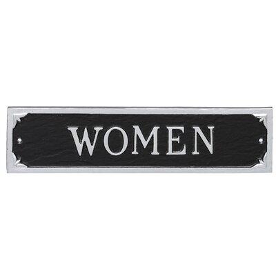 Women Restroom Statement Address Plaque Finish: Black/Silver