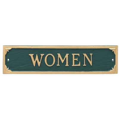 Women Restroom Statement Address Plaque Finish: Hunter Green/Gold