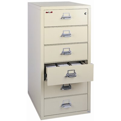 Fireproof 6-Drawer Card, Check, and Note Vertical File Cabinet Color: Champagne, Lock: E-Lock