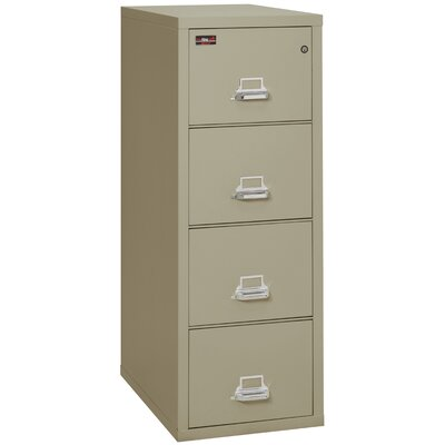 Fireproof 4-Drawer 2-Hour Rated Vertical File Cabinet Lock: Key Lock, Color: Pewter