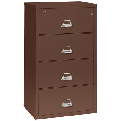 Fireproof 4-Drawer Vertical File Cabinet Color: Brown, Lock: Combination Lock