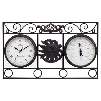 Gablemere Frame Sun Wall Clock with Thermometer