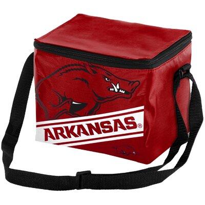 6 Can NCAA Big Logo Stripe Picnic Cooler NCAA Team: University of Arkansas Razorbacks