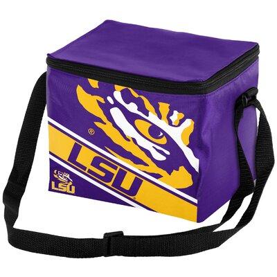 6 Can NCAA Big Logo Stripe Picnic Cooler NCAA Team: Louisiana State Tigers