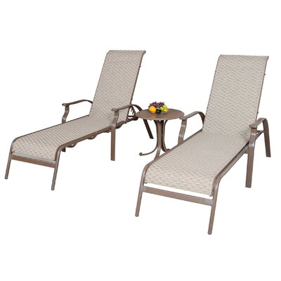 Panama Jack Outdoor Island Breeze 3 Piece Sling Chaise Lounge Seating Group