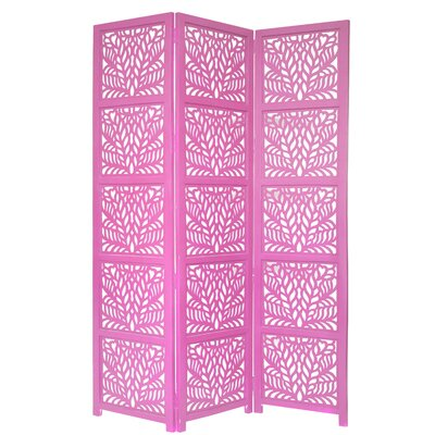 Godfrey 3 Panel Room Divider Color: Pink