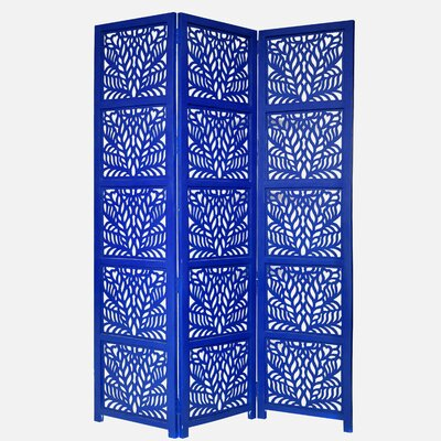 Godfrey 3 Panel Room Divider Color: Blue
