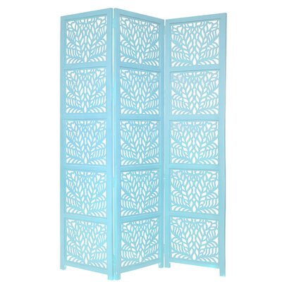 Godfrey 3 Panel Room Divider Color: Turquoise