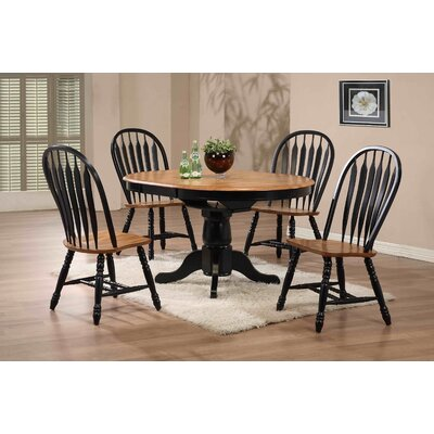 Rustic Oak Round Single Pedestal Table Finish: Rubbed Black and Oak