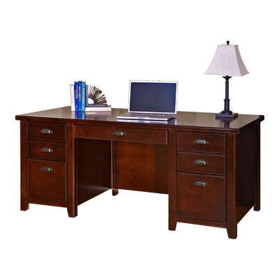 kathy ireland Home by Martin Furniture Tribeca Loft Cherry Double Pedestal Executive Desk