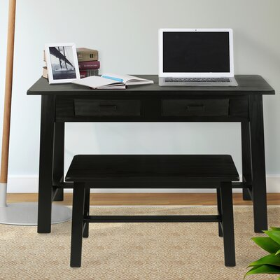 Console Table and Bench Set Color: Black