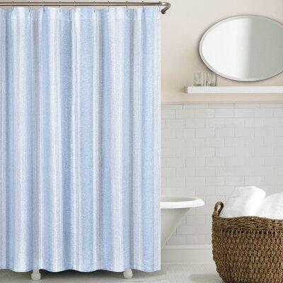 Washed Linen Shower Curtain Color: Blue