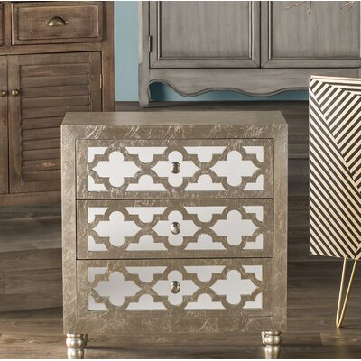 Newcastle 3 Drawer Chest Color: Silver Leaf