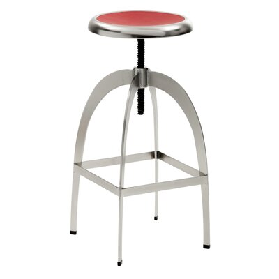 Colby Adjustable Height Bar Stool Upholstery: Red