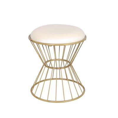 Faux Leather Wire Frame Stool Color: Off White