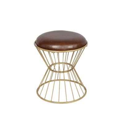 Faux Leather Wire Frame Stool Color: Choco