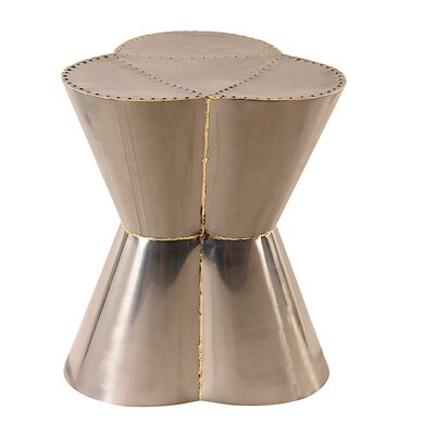 Flower Accent Stool Color: Zinc / Brass edges