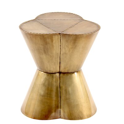 Flower Accent Stool Color: Brass antique
