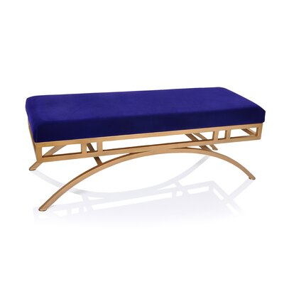 Boston Metal Bench Upholstery Color: Blue