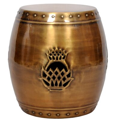 Pineapple Drum Garden Stool Color: Brass Antique