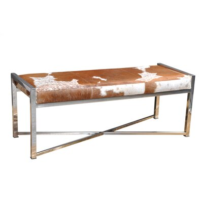 Gideoon Leather Bench Upholstery: Choco White Hide