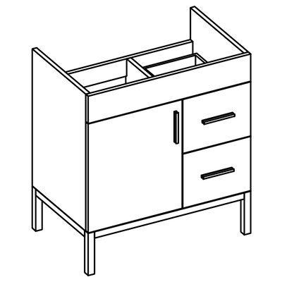 "Daytona 38.5"" Bathroom Vanity Base Drawer Side: On Right, Hardware: Satin, Base Finish: White Matte"