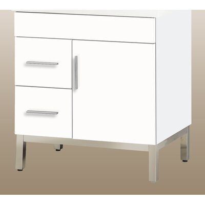 "Daytona 28.5"" Single Bathroom Vanity Base Hardware: Polished, Orientation: Right, Base Finish: Greyline Gloss"