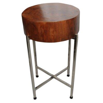 SURA Natural Wood Block Accent Table, Silvered Base