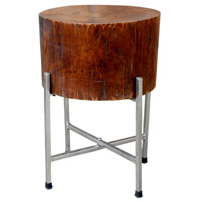 Solid Natural Wood Block Accent Table STAN with Cross-leg Silver Stand