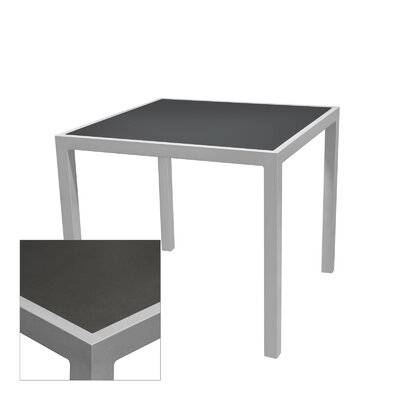 "Corsa Bar Table Table Size: 24"" L x 24"" W, Top Finish: Gunmetal Silver, Frame Finish: Silver"
