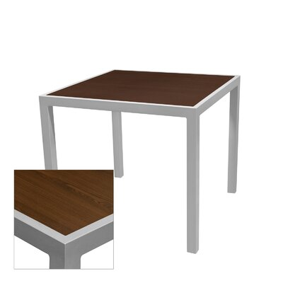 """Corsa Bar Table Table Size: 24"""" L x 24"""" W, Frame Finish: Silver, Top Finish: Wenge"""
