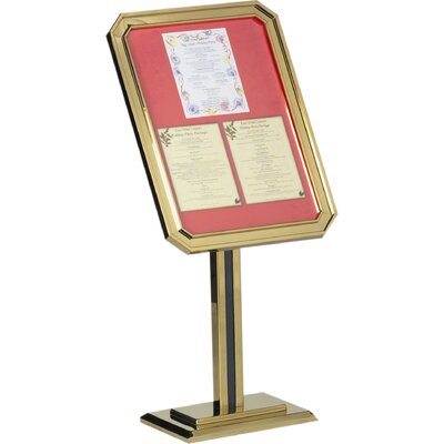 Single Pedestal Ornamental Sign and Poster Stand Color: Brass