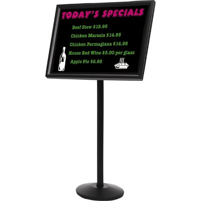 AARCO Dual Capability Neon Menu or Poster Holder Free-Standing Bulletin Board, 2' H x 2' W