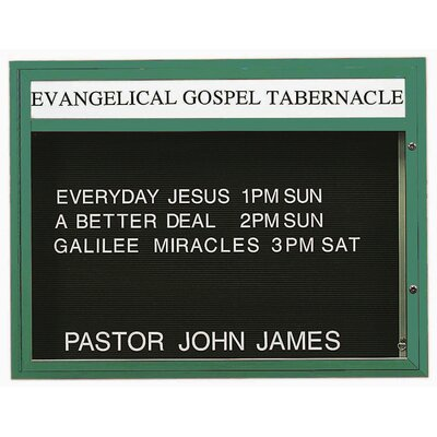 "Single Sided Illuminated Community Board Size: 33"" H x 43"" W, Frame Color: Green Powder Coated"