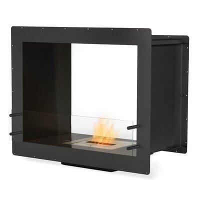 "Double Sided Bio-Ethanol Fireplace Finish: Black Satin, Size: 32.9"" H x 39.4"" W x 20.2"" D"
