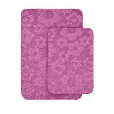 Flower 2 Piece Bath Rug Set Color: Pink