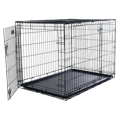 """Brianna Double Door Foldable Pet Crate Size: Large (25"""" H x 23"""" W x 36"""" D)"""