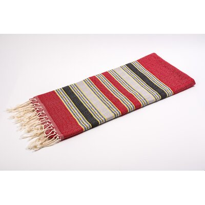 Fouta 100% Cotton Bath Towel Color: Red