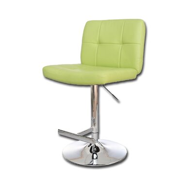 Adjustable Height Swivel Bar Stool Upholstery: Lime