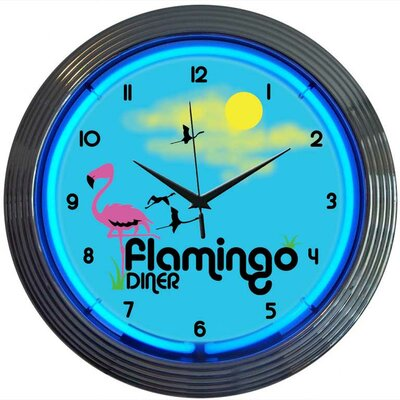 "Neonetics Retro 15"" Flamingo Diner Wall Clock"